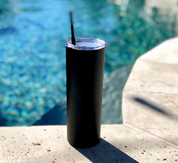Black Drink Tumbler, Tall Drink Tumbler, Matte Black Cocktail Tumbler, Black Metal Drink Cup, stainless steel Cup, custom metal cup, matte
