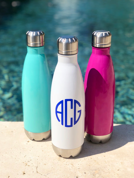 Personalized water bottle, stainless steel water bottle, personalized tumbler, metal water bottle, stainless steel drinkware, monogram drink