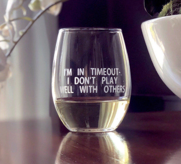 Funny gift ideas for mom, funny wine glass for mom, funny gift ideas for friends, wine glass for mom, humorous wine glass, time out adult