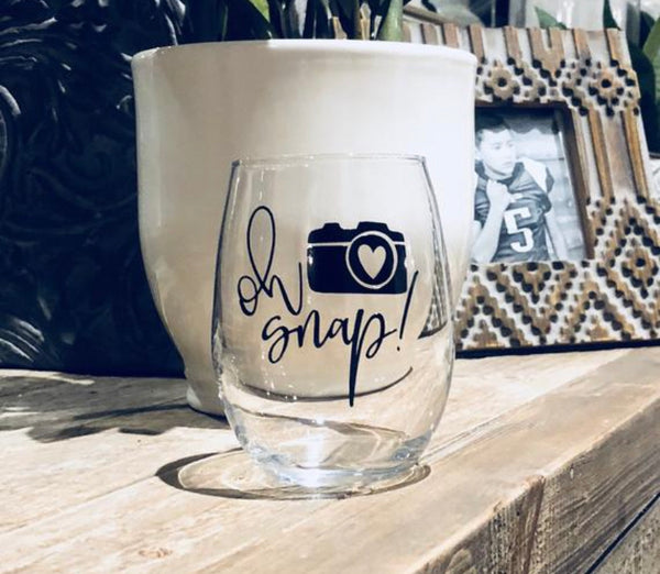 Oh Snap! Photography Wine Glass