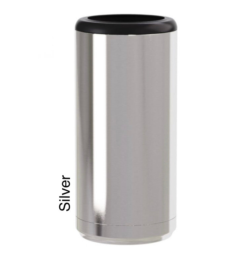 Silver 12oz skinny Can Cooler