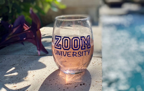 Zoom university wine glass