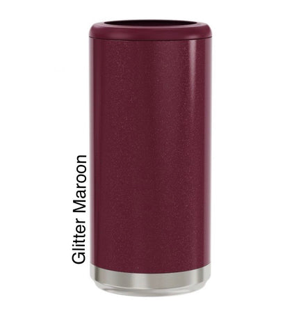 Glitter Maroon 12oz skinny Can Cooler