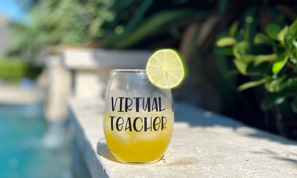Virtual Teacher wine glass