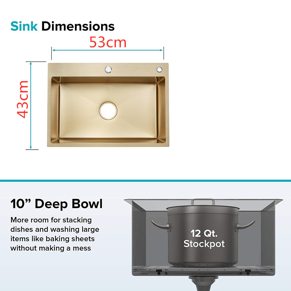 Anti Scratch Single Bowel Gold kitchen Sinks
