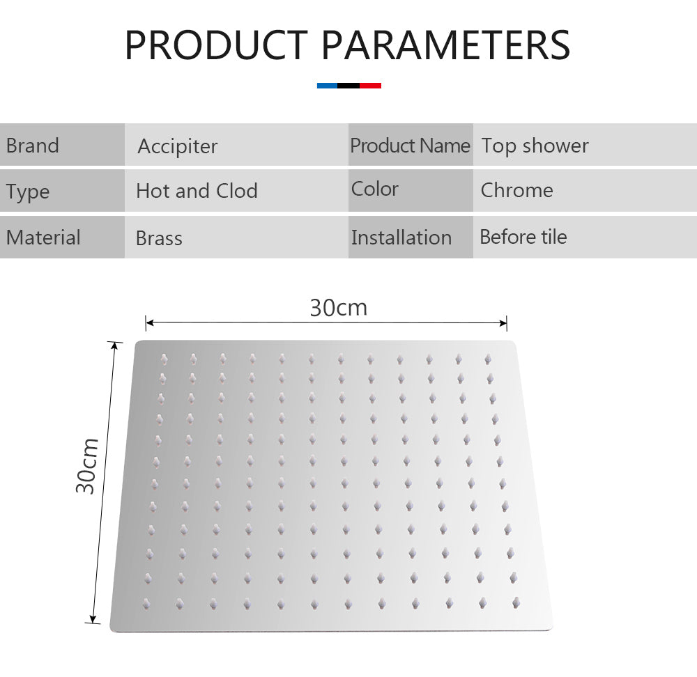 Square Stainless Steel Ultra-Thin Rainfall Shower Head