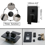 8/16 Inch Matte Black Rainfall Shower Faucet Tub Led Bathtub Rain Square Shower Head Waterfall Spray Shower Faucet Set