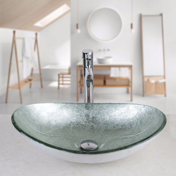 Silver Hand-Paint Art Bathroom Glass Basin Sink Faucet Round Basin Bath Vanity Chrome Brass Faucet Set Tap Mixer Set