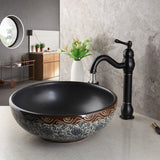 Black Bathroom Sink Washbasin Ceramics Hand-Painted Waterfall Lavatory Bath Combine Brass Set Faucet Mixers & Taps