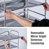 2-Tier Stainless Steel Storage Rack Bathroom Shelf Kitchen Tableware Microwave Oven Stand Home Office Shelf Organizer Holder
