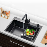 Black Kitchen Sinks Above Counter Vegetable Washing single Basin Kitchen Sinks Black Stainless Steel