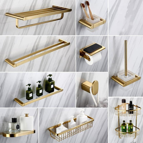 Gold Bathroom Hardware Set Bathrom Shower Shelf Wall Mounted Corner Shelf Organizer 304 Stainless Steel Brushed - Fbest