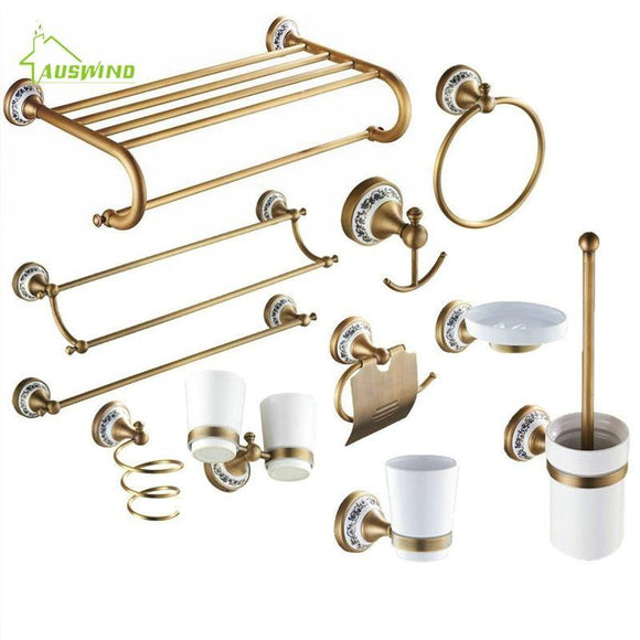 AUSWIND Antique Brushed Brass Porcelain Base Bathroom Hardware Set Bronze Ceramic Bathroom Products with Flower Decoration - Fbest