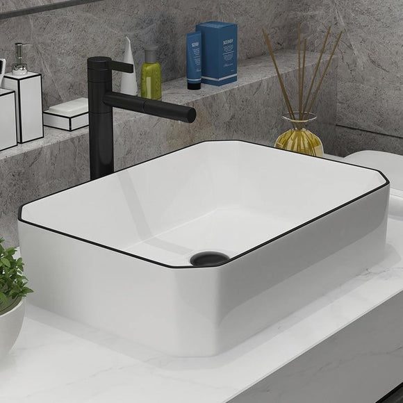Art Ceramic Bathroom Sink Set Ceramic Basin 50*37cm, Bathroom Faucet White Design Basin Mixer Tap - Fbest