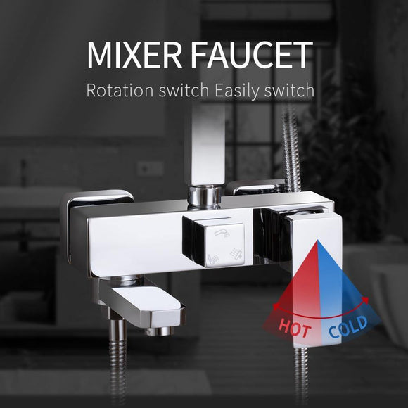 Shower Faucet 3 Functions Shower Mixer.Wall Mounted Bathtub Mixing Valve Faucet Mixer Tap.Bathroom Mixer Tap Chrome Finished - Fbest