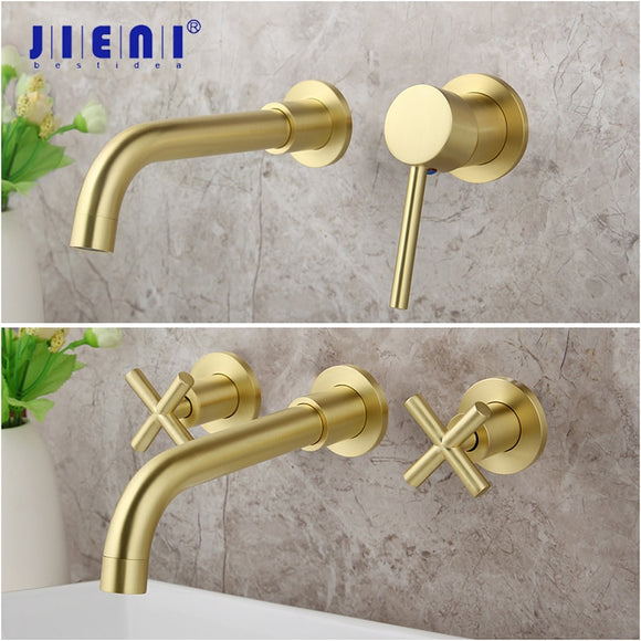 Brushed Golden Tap Wall Mounted Bathroom Basin Sink Faucet