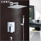 Chrome Polish Bath Shower Mixer Faucet Set Single Handle Bathroom Rainfall Rain Shower Set Faucet