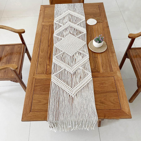 34x200CM Hollow Out Macrame Table Runner Boho Wedding Decoration Nordic Style Boho Table Runner With Tassels Drop Shipping - Fbest