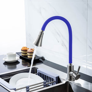 360° Rotating Kitchen Faucet Cold and Hot Black Blue Water Mixer