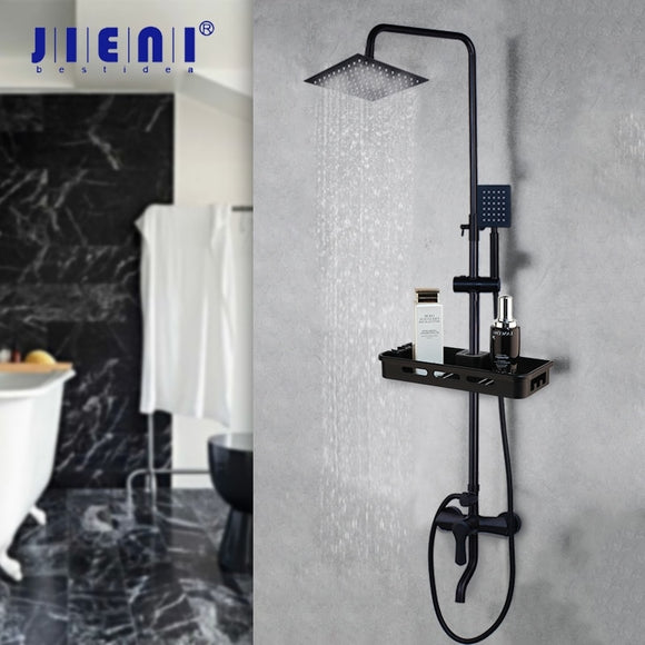 JIENI Matte Black Rainfall Shower Faucet Set Paint Black Bathtub Shower Mixer Faucet & Storage Shelf Bathroom Mixer Faucet Set