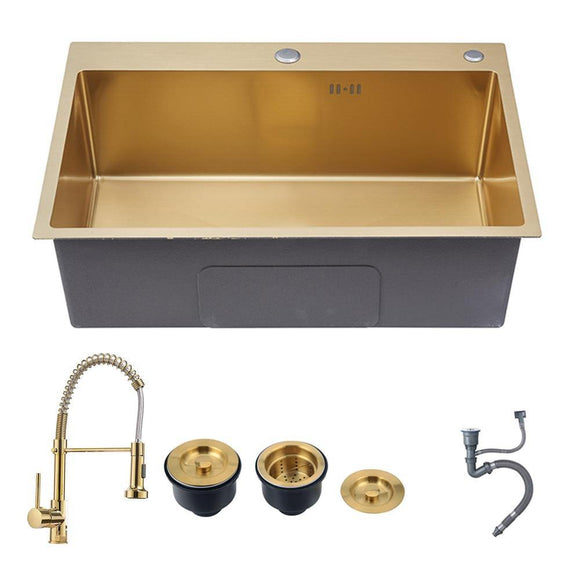 Gold kitchen sinks above counter or udermount sink Vegetable Washing basin Sinks 304 Stainless Steel single bowl 53x43cm - Fbest