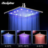 12 Inch Rain Led Shower Head With Wall Mounted Or Ceiling Mounted Shower Arm.Bathroom 30cm * 30cm Led Showerhead.Chuveiro Led. - Fbest