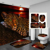 180x180cm 1Pc/3Pcs Moon Leopard Flower Leopard Cheetah w/12 Hooks Bathroom Shower Curtain Toilet Mat Lid Rug Curtain Sets - Fbest