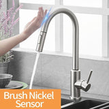 Pull Out Brush Nickel Sensor Kitchen Faucets Hot And Cold Sink Faucet Kitchen Mixer Touch Control Sink Tap ברז מטב  ברז לכיור - Fbest
