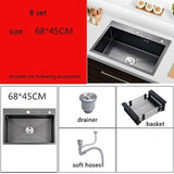 Stainless Steel Kitchen Sinks Black Single Bowel Kitchen Sink Above Counter and Udermount Vegetable Washing Basin ATS800 - Fbest