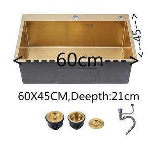 Single Bowel Gold kitchen Sinks Vegetable Washing Basin Sink Stainless Steel Nano Surface Anti Scratch - Fbest
