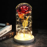 Artificial Eternal Rose LED Light Beauty The Beast Rose In Glass Cover Christmas Home Decor For Mother Valentines Day New Year - Fbest