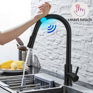 Pull Out  Brushed  Stainless Steel Black Smart Induction Mixed Tap Touch Control Sink Tap