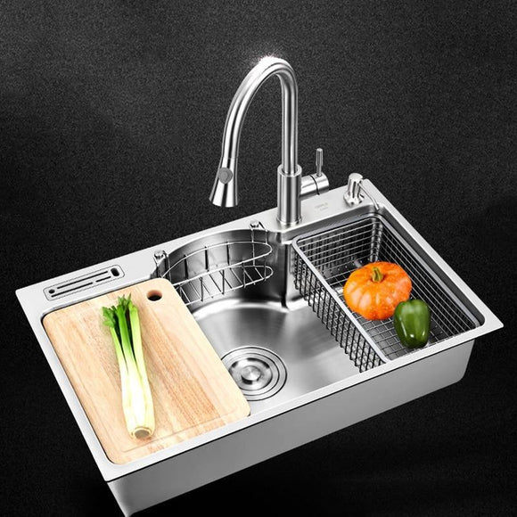 Sinks Kitchen Multifunctional Kitchen Sink Stainless Steel 1.3 Mm Thickness Brushed Single Bowl Kitchen Sinks - Fbest
