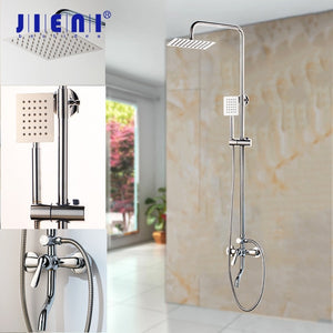 JIENI 8 Inch Chrome Polish Rainfall Wall Mount Ultrlthin Shower Head Mixer Faucet Bathroom Adjust Height Handheld Shower Faucet