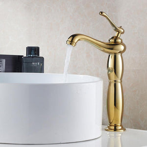 Bathroom Faucets Brass Basin Single Handle Water Mixer Antique Classic Wash Basin Faucet Single Hole Deck Mounted Hot & Cold Tap - Fbest