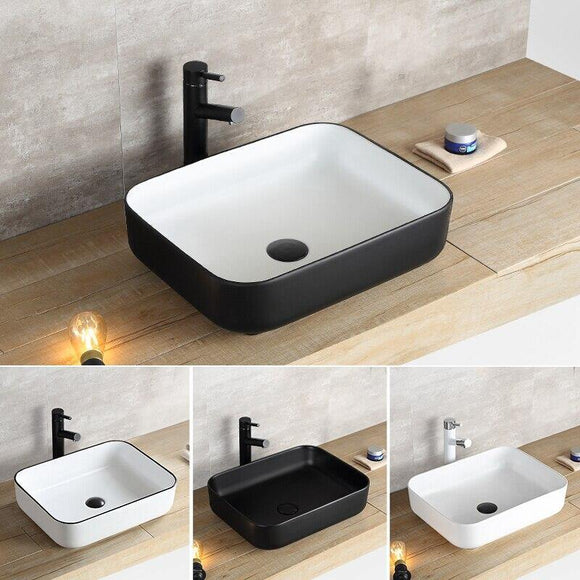 Nordic ceramic washbasin square basin simple black bathroom European art washbasin home basin - Fbest