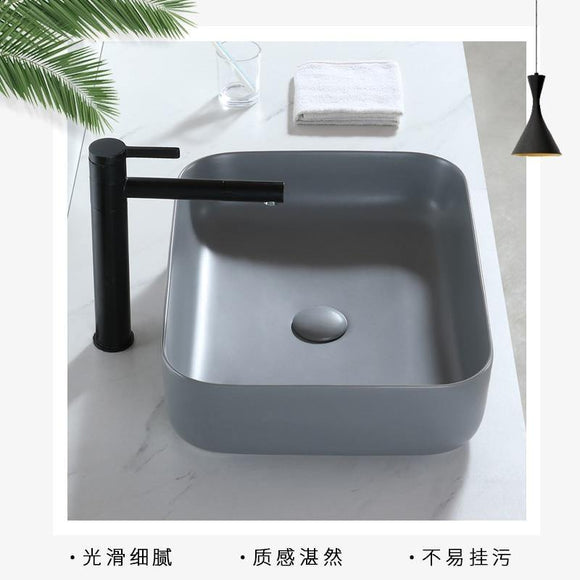 Matte Gray Bathroom Vessels Household Washbasin Balcony Bathroom Square Ceramic Counter Basin Wash Basin Shampoo Bowl - Fbest