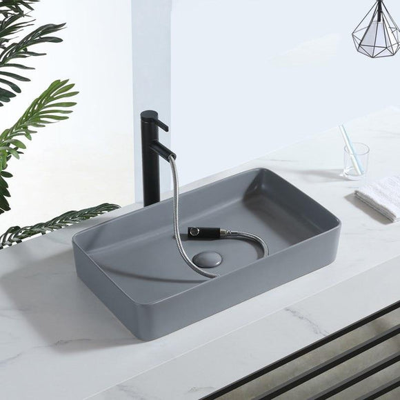 61x35 cm Dull Grey Bathroom Vessels Household Washbasin Balcony Bathroom Square Ceramic Counter Basin Wash Basin Shampoo Bowl - Fbest