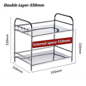 2-Tier Stainless Steel Storage Rack Bathroom Shelf Kitchen Tableware Microwave Oven Stand Home Office Shelf Organizer Holder - Fbest
