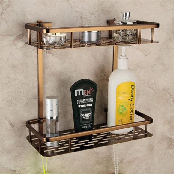 Europe Antique Bathroom Shelves Double Layer Towel Rack Space Aluminum Bronze Bathroom Shelf Storage Rack 300*360*140mm - Fbest