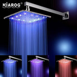 10 Inch Led Shower Head With Shower Arm. Chuveiro Led.25 CM * 25 CM Water Power. Bathroom 3 Colors Change Led Showerhead. - Fbest