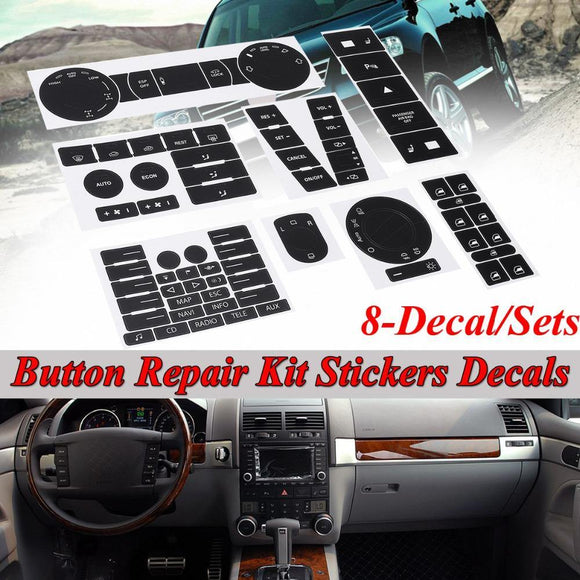 8pcs For VW For Volkswagen Touareg 04-09 Car Steering Wheel Windows Headlight Climate Switch Worn Button Repair Stickers Decals