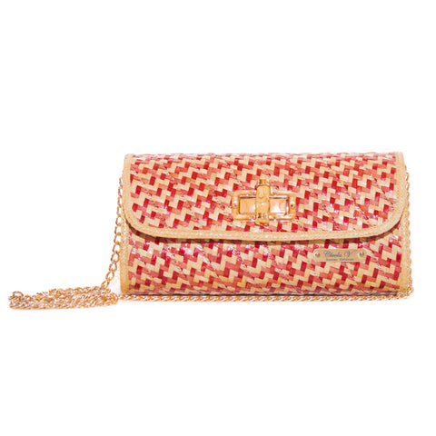 Stacy Straw Crossbody Bag | Red and Natural Peas and Rice