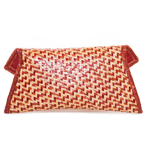 Lena Bow Straw Clutch | Red and Natural Peas and Rice
