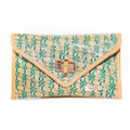Aria Straw Clutch | Aqua and Natural Diamond