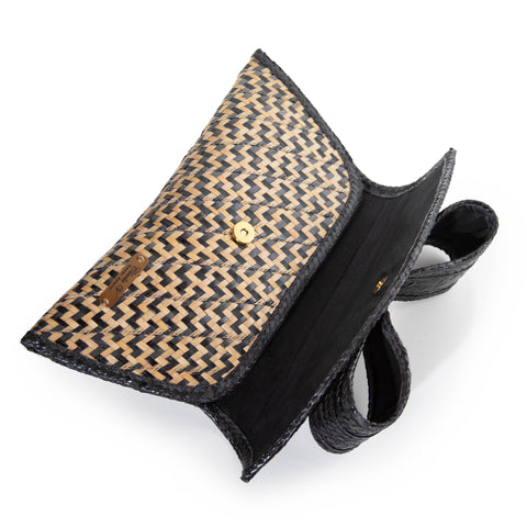 Lena Bow Straw Clutch | Black and Natural Peas and Rice