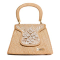 Marguerite Pearl Embellished Straw Handbag | Lace Natural Peas and Rice