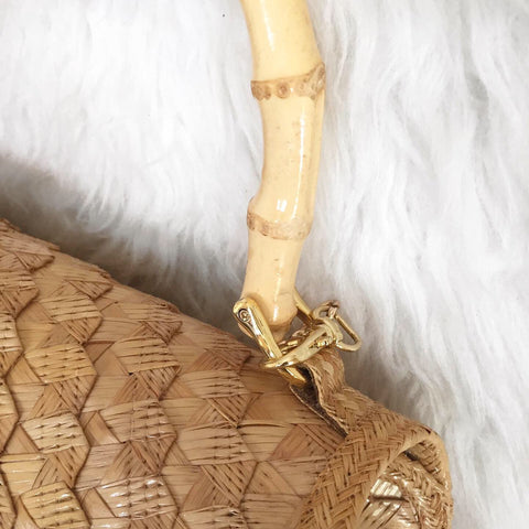 Panache Ric Rac Straw Purse with Bamboo Handle | Natural