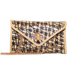 Aria Straw Clutch | Blackand Natural Diamond