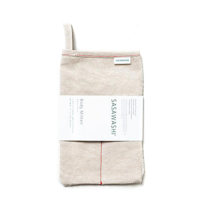 Sasawashi Red Stitch Scrub Mitt